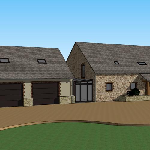 Extension de maison pour création d''un double garage