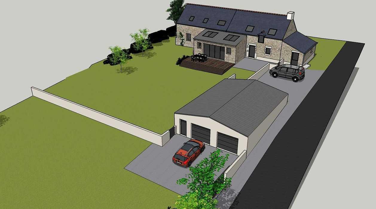 Démolition d''un appentis pour extension de maison + Construction de garage - Ploeuc l''Hermitage (22) 02
