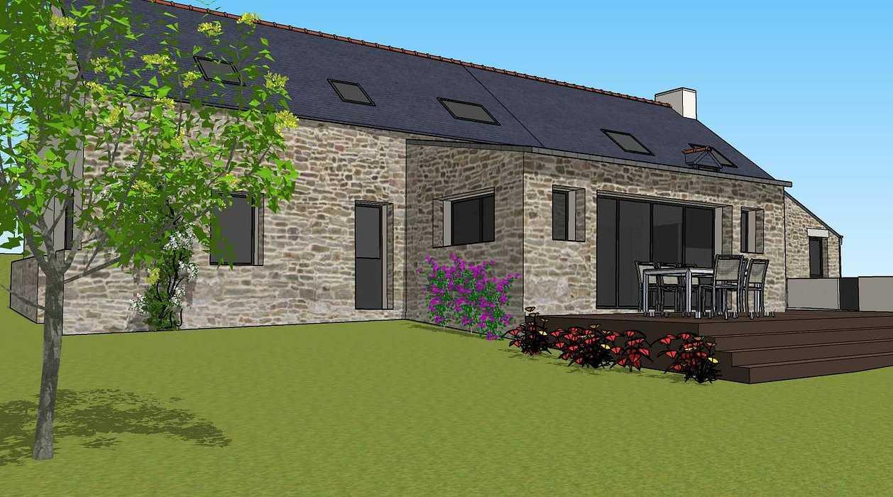 Démolition d''un appentis pour extension de maison + Construction de garage - Ploeuc l''Hermitage (22) 07