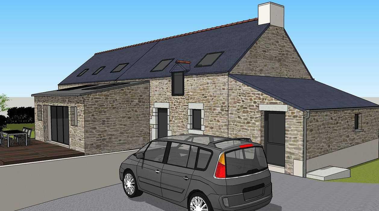Démolition d''un appentis pour extension de maison + Construction de garage - Ploeuc l''Hermitage (22) 08