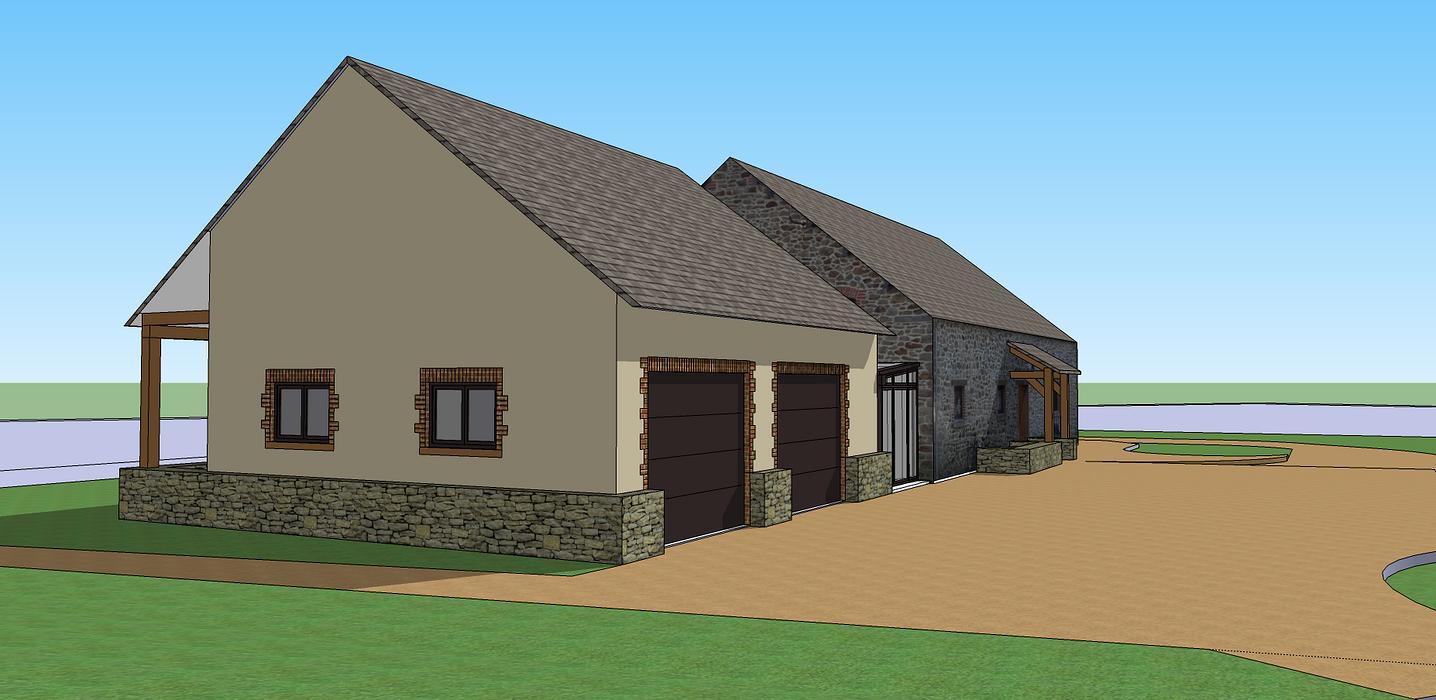 Extension de maison pour création d''un double garage 3dlemetayer2