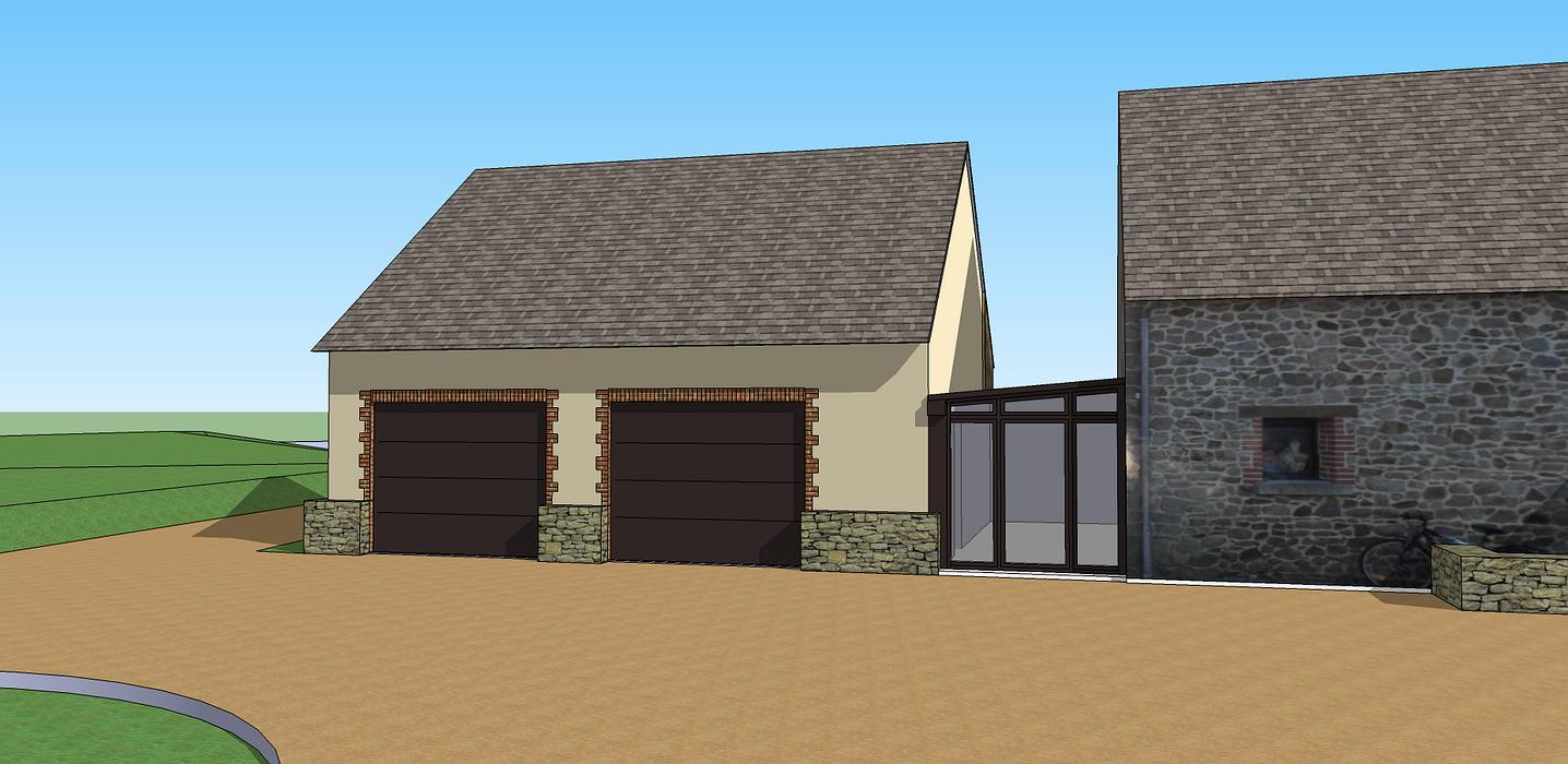 Extension de maison pour création d''un double garage 3dlemetayer3